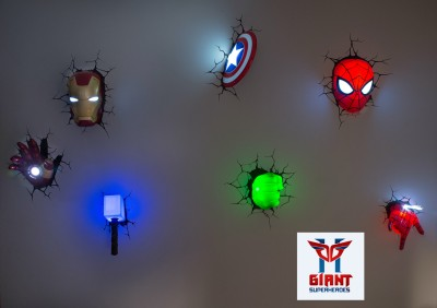 Win 3D Avengers Superhero Marvel Set Of 7 Wall Art Night Lights.